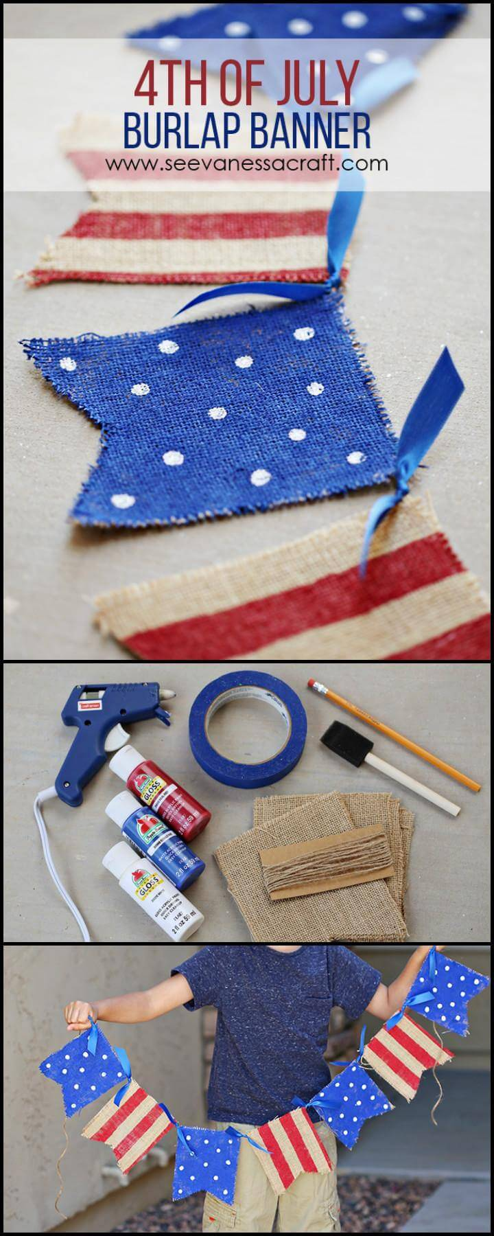 DIY 4Th July Burlap Banner