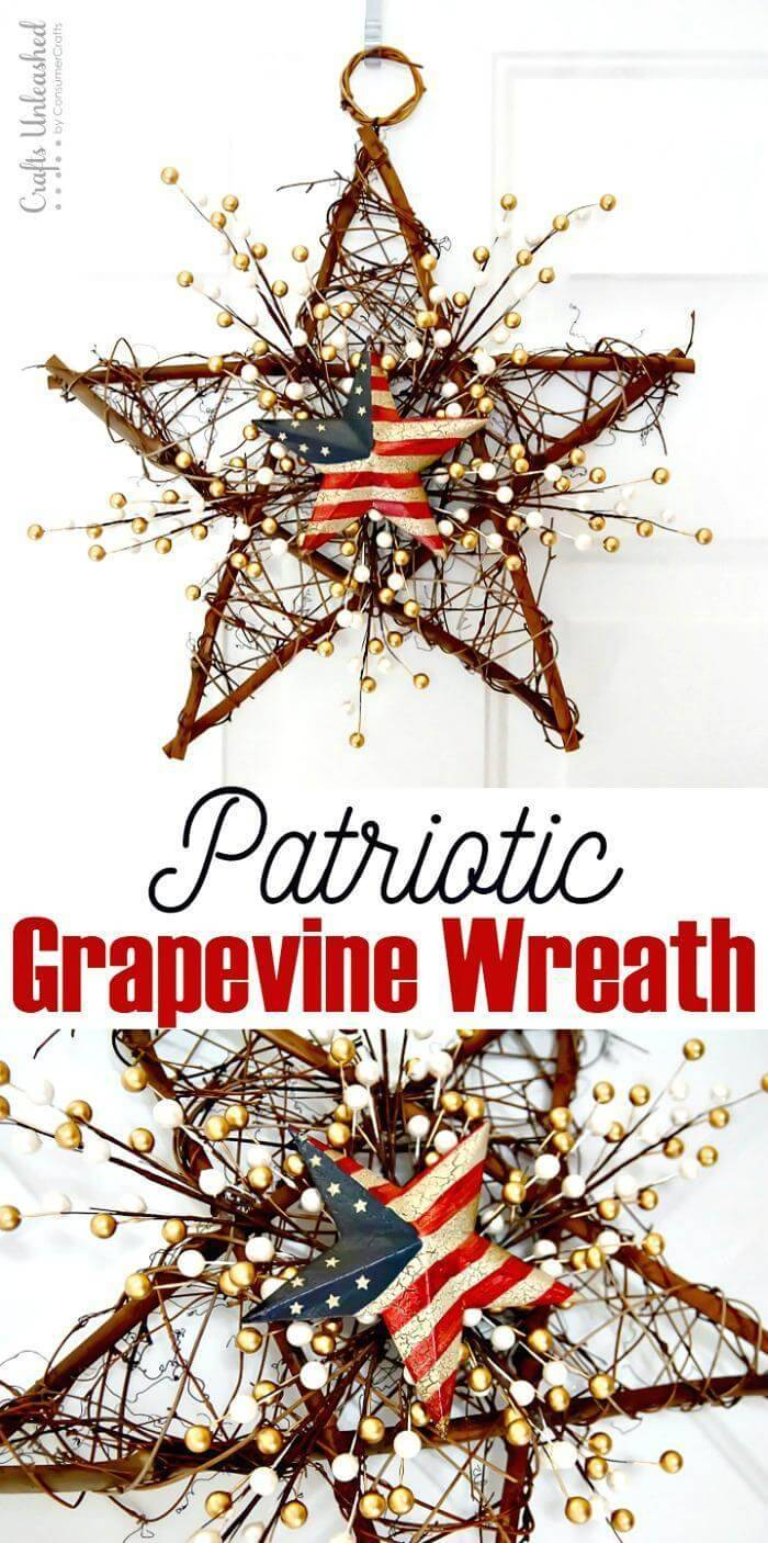 DIY 4th of July DIY Grapevine Wreath