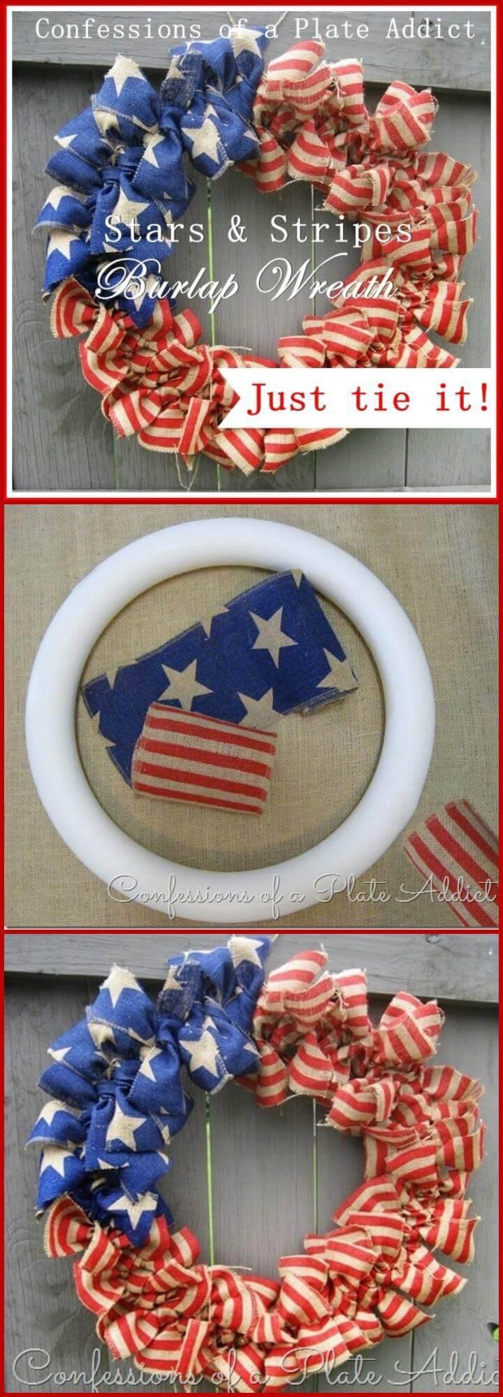 DIY American flag burlap wreath