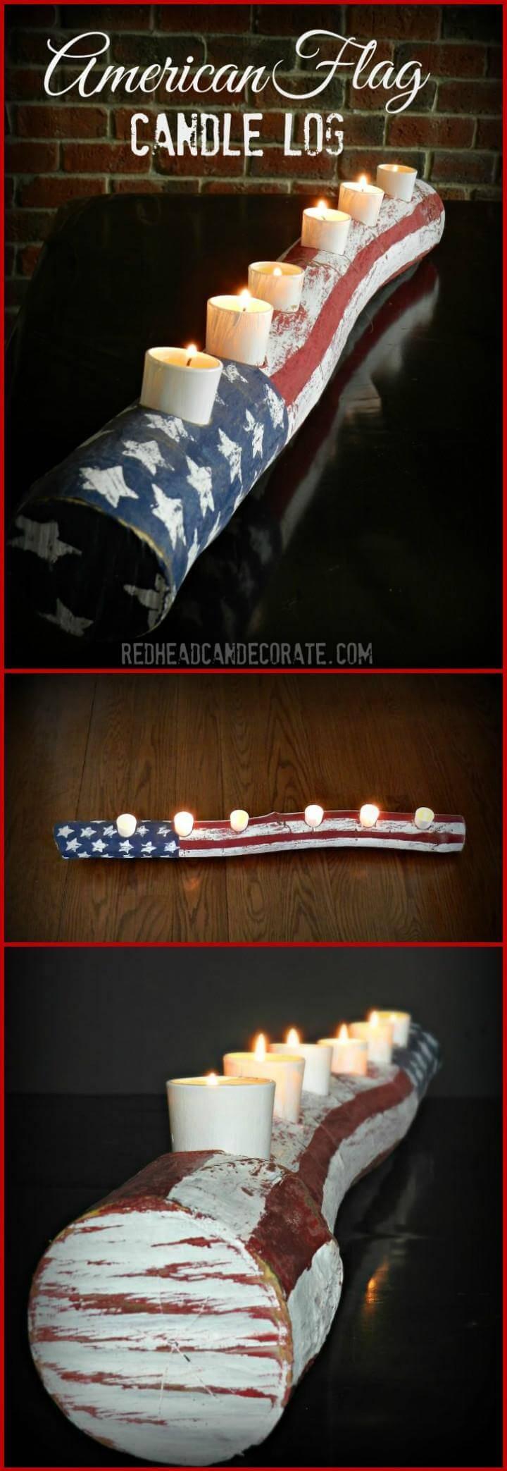DIY american flag candle log