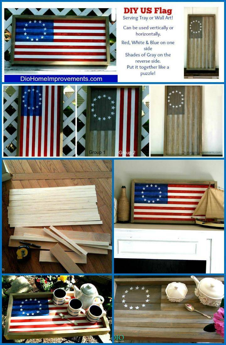 DIY American flag reversible tray or wall art