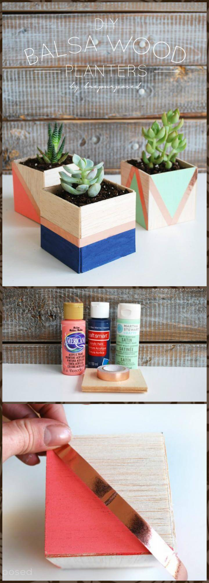gorgeous DIY balsa wood planters for Mother's Day