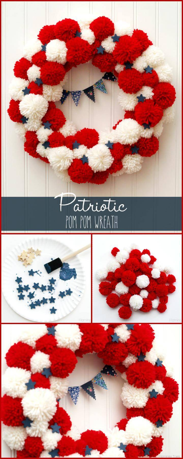 DIY Beautiful Patriotic Pom Pom Wreath