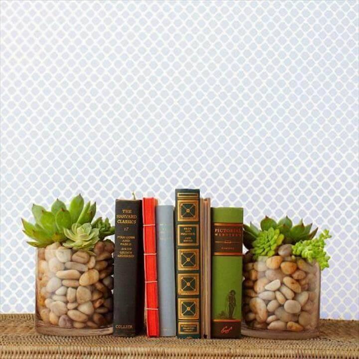 DIY Beautiful Succulent Bookends