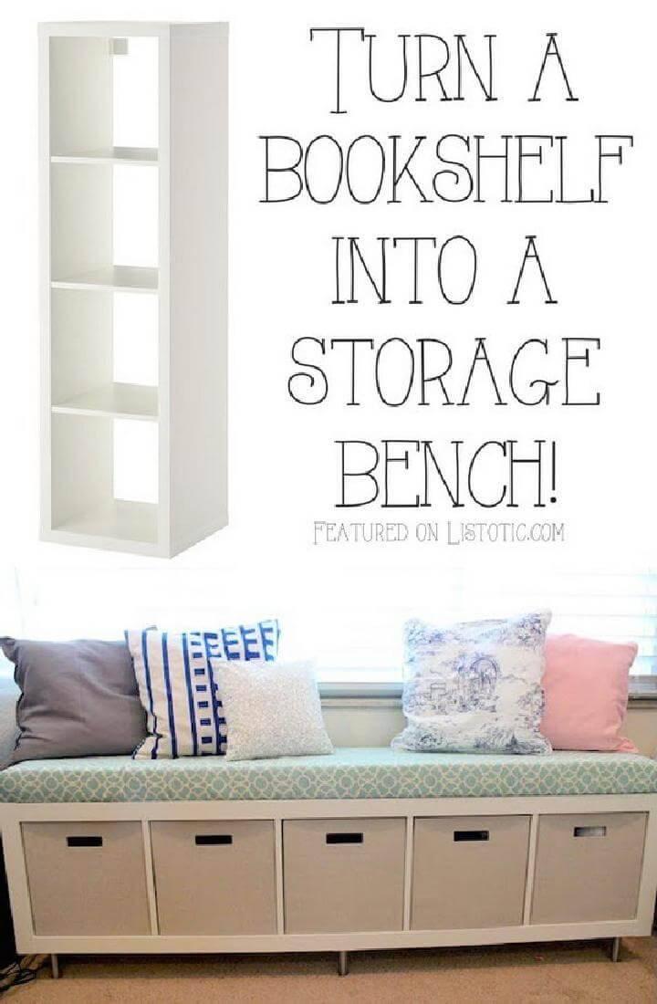 DIY Bookshelf into Storage Bench