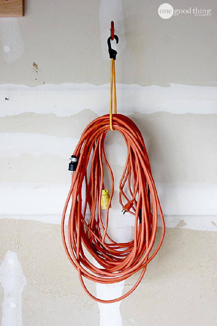 DIY Bungee Cord and Bike Hook Industrial-Sized Extension Cord Hanger