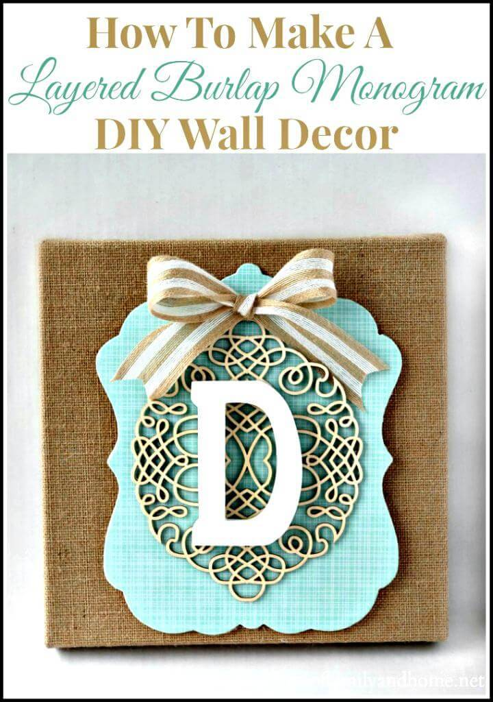 easy burlap monogram Mother's Day gift idea