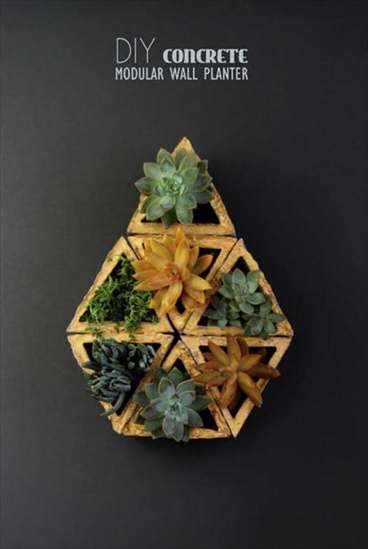 DIY Concrete Modular Wall Succulent Planter