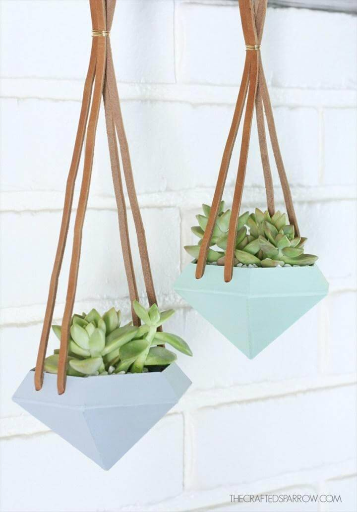 DIY Diamond Hanging Planters