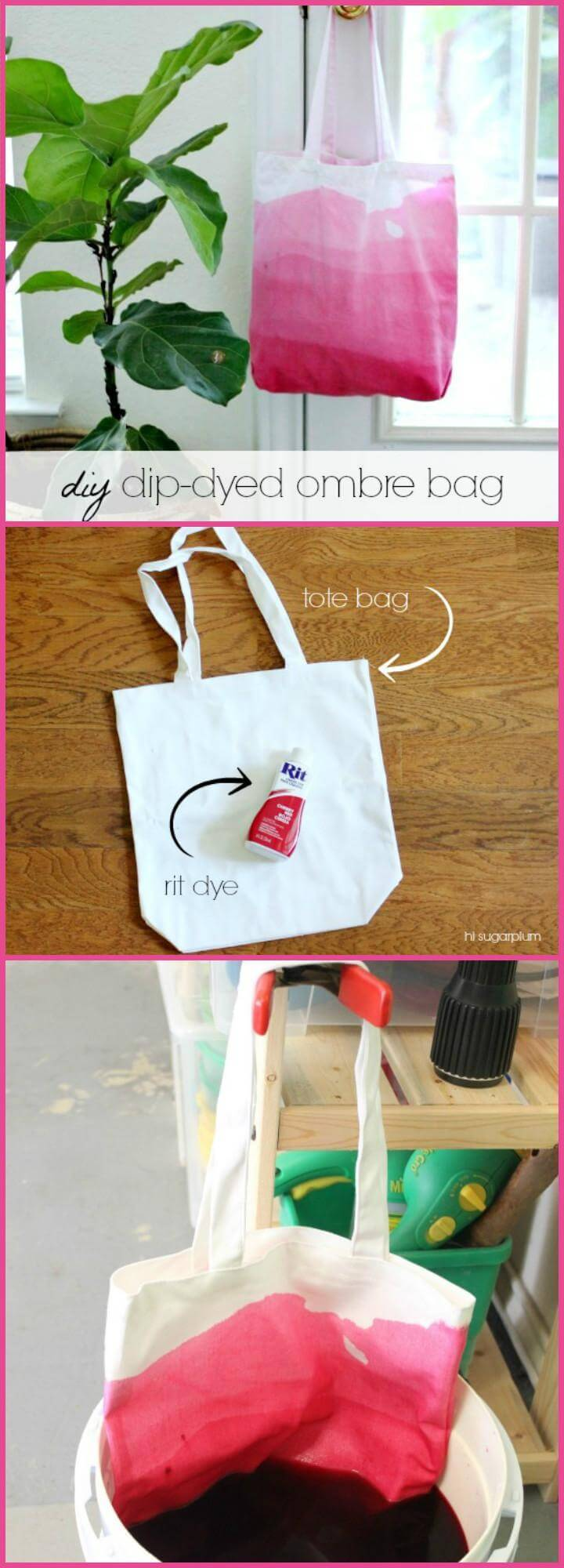 DIY Dip Dyed Ombre Bag Mother's Day Gift