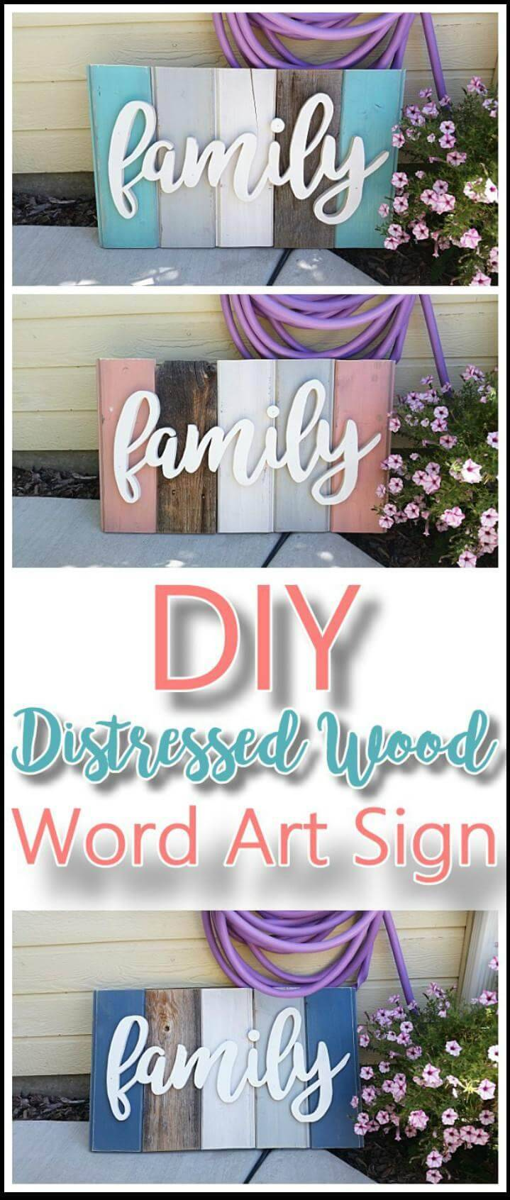 DIY distressed wood word art mother's day gift