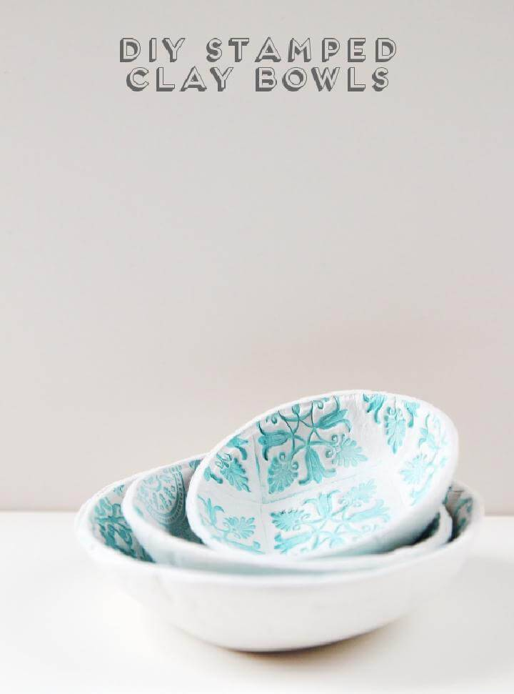 DIY Easy Stamped Clay Bowls