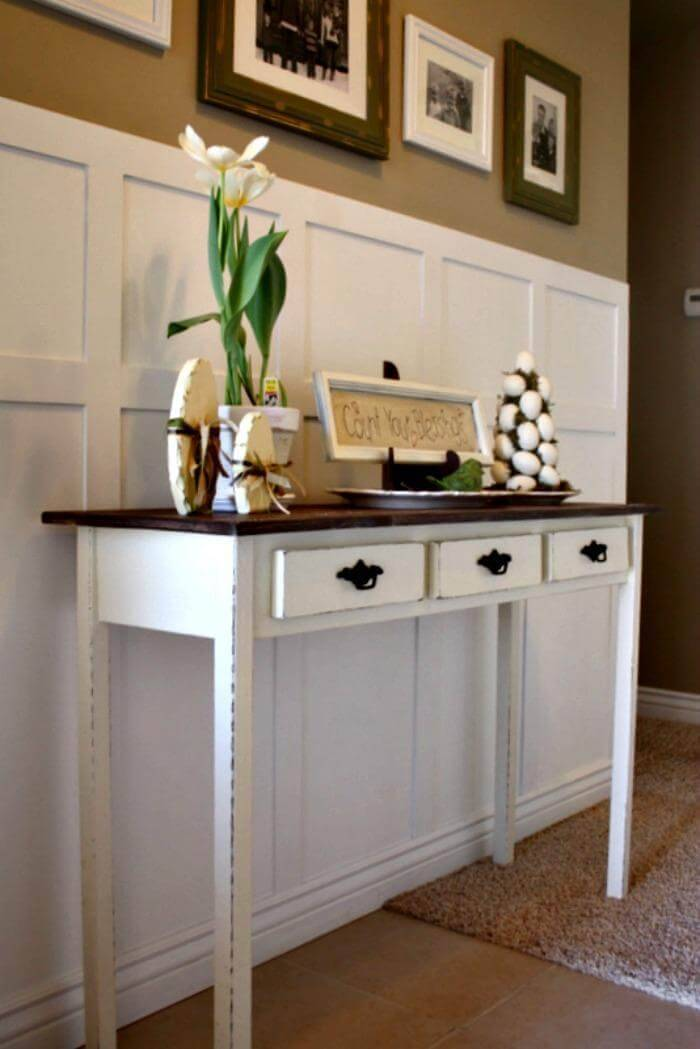 Another Great Handmade Wooden Entryway Table It Is Having The Faux Drawers And Comes With A Fantastic Distressed White Choco Appeal