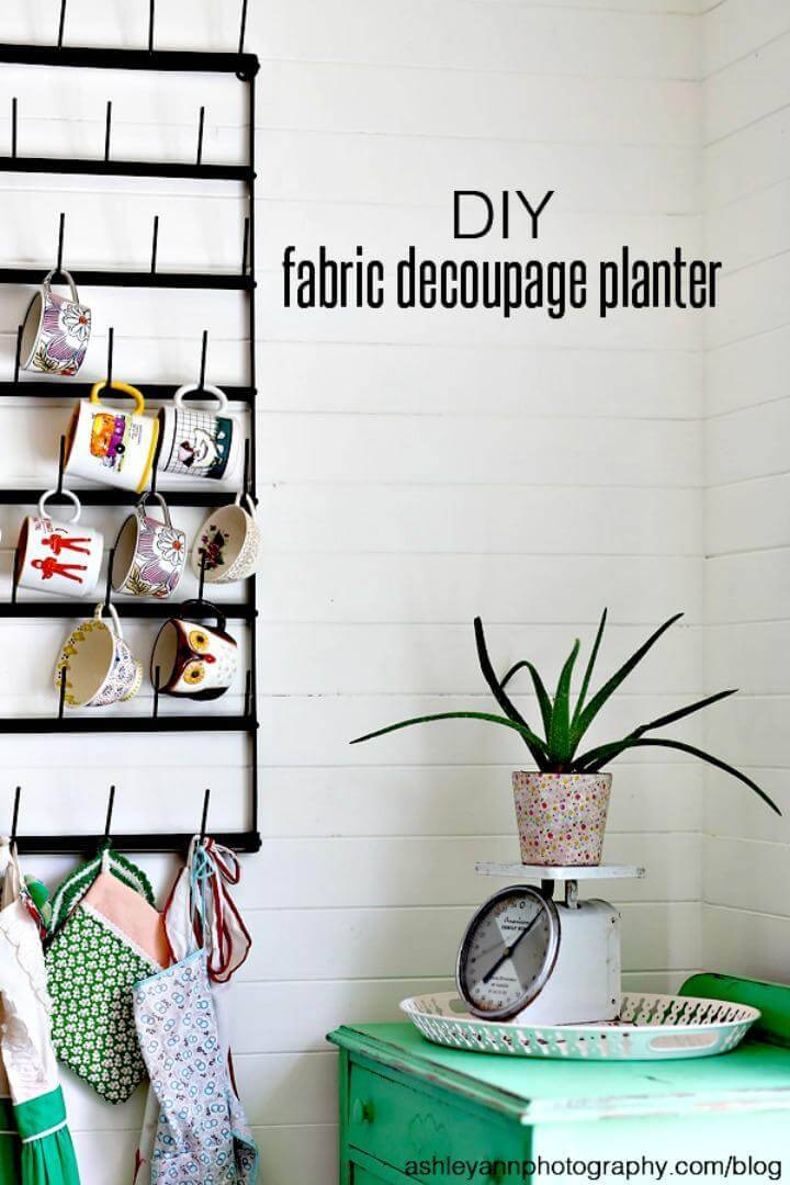 DIY Fabric Decoupage Planter