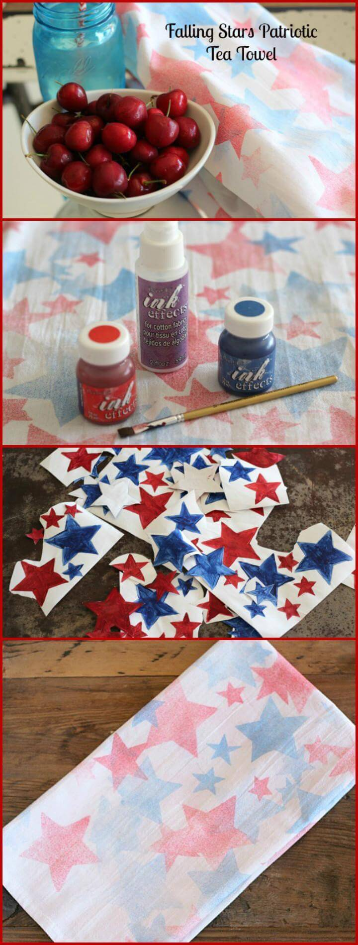 DIY Falling Stars Patriotic Tea Towel