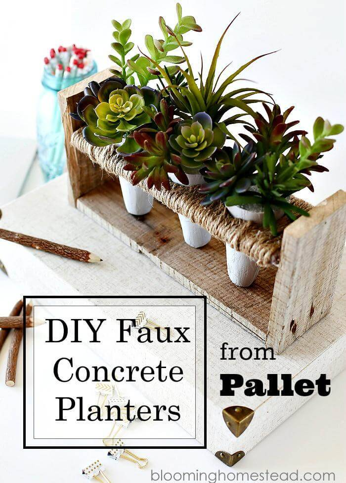 DIY Faux Concrete Pallet Planter