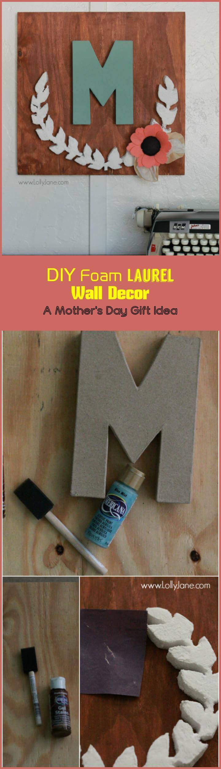 DIY foam laurel wall decor