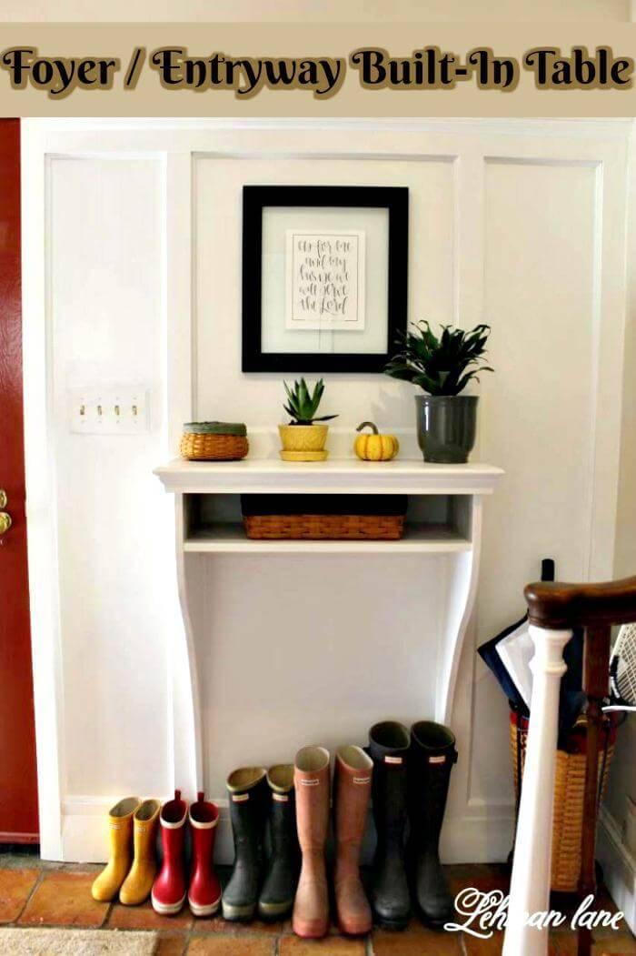 DIY Foyer Entryway Built-In Table