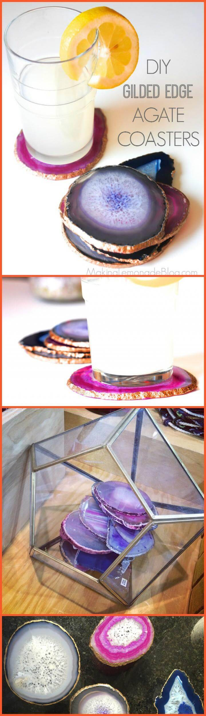 DIY easy yet beautiful gilded edge agate coasters Mother's Day Gift
