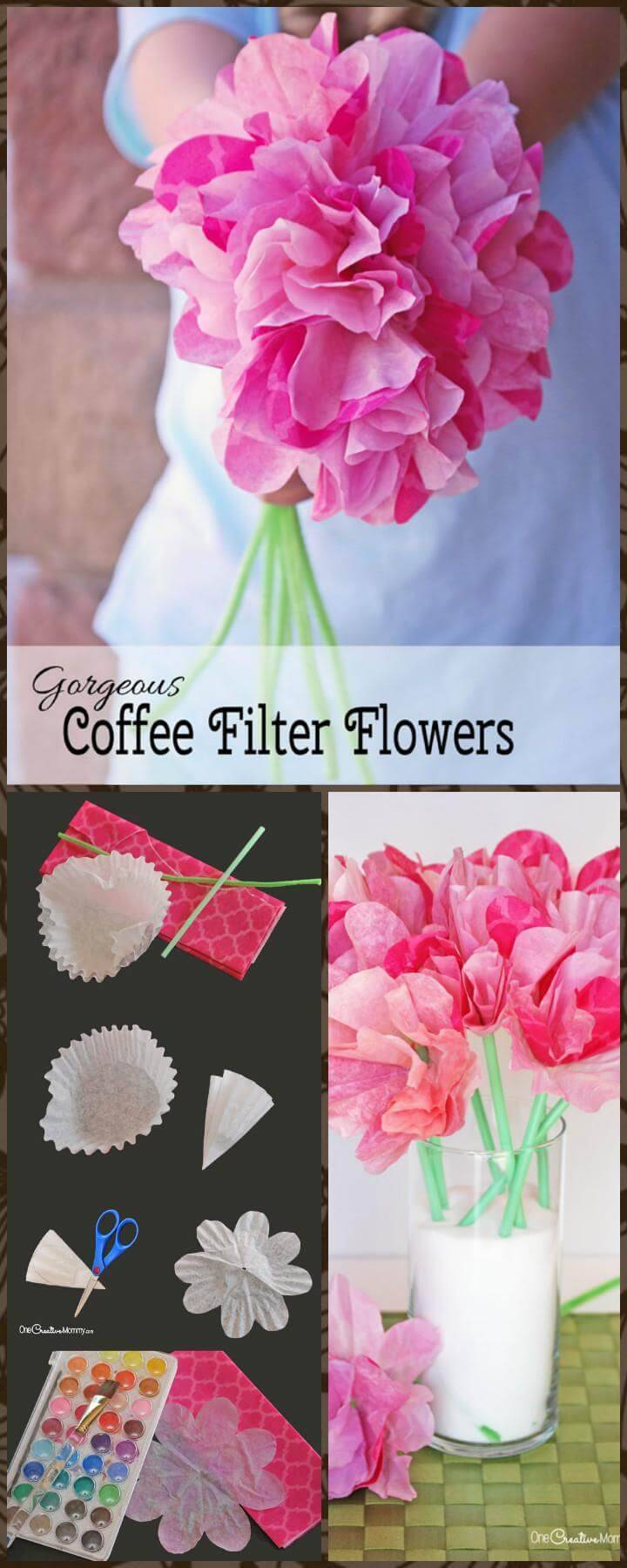 DIY easy yet beautiful coffee filter flowers
