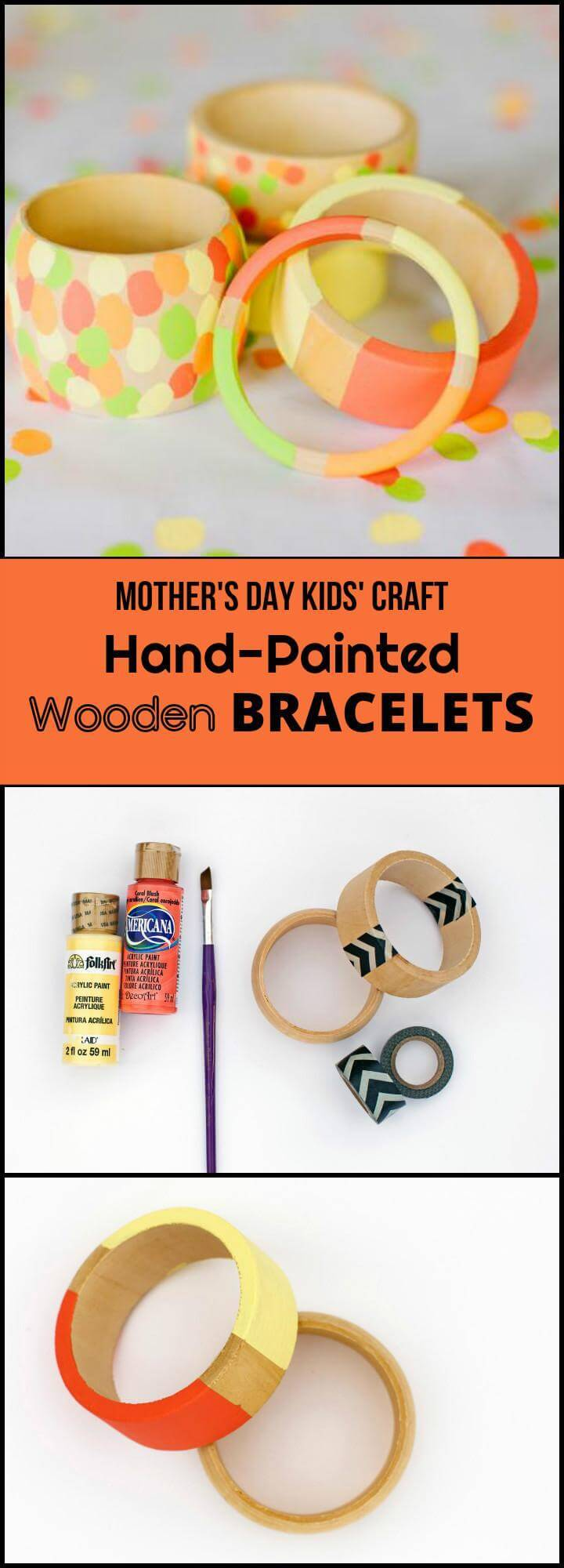 DIY hand-painted wooden bracelets for Mother's Day