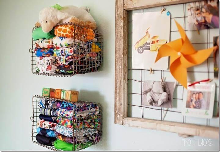 DIY Hanging Basket Baby Diaper Storage