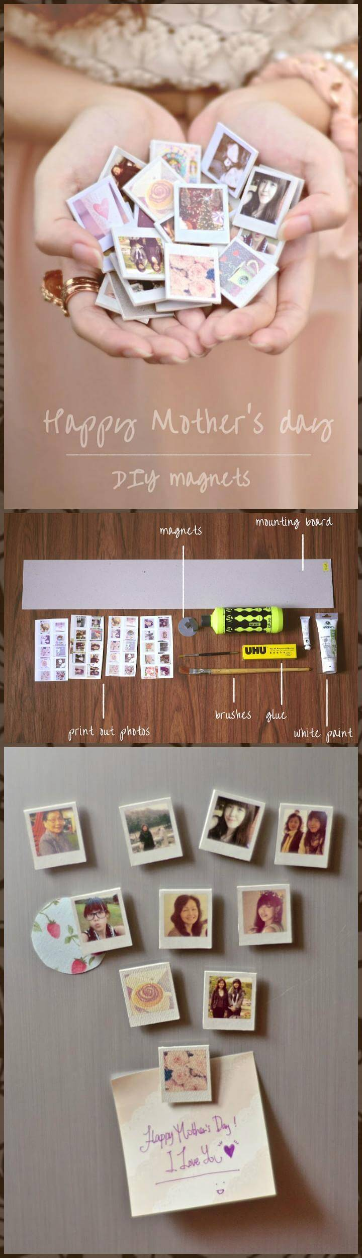 DIY handcrafted Mother's Day photo Magnets