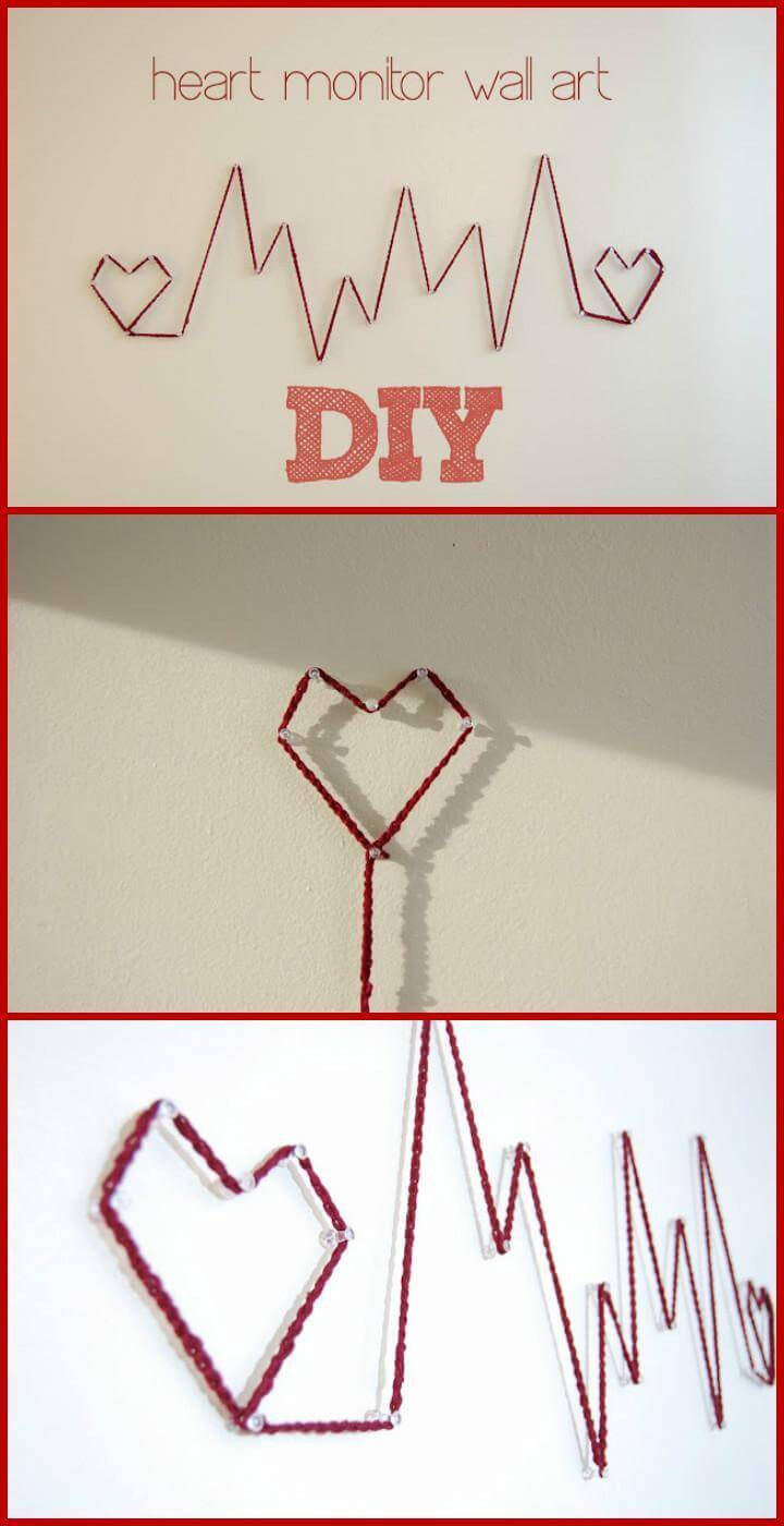 DIY Heart Monitor String Wall Art