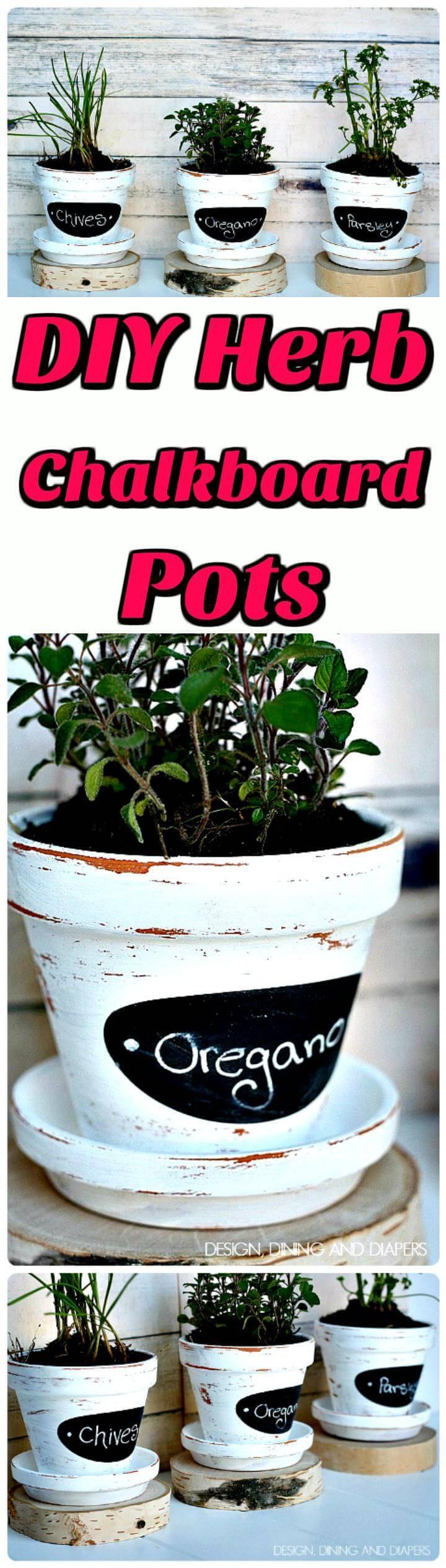 DIY herb chalkboard pots