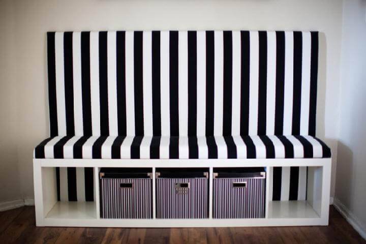 DIY IKEA Kallax Black and White Banquette Seat