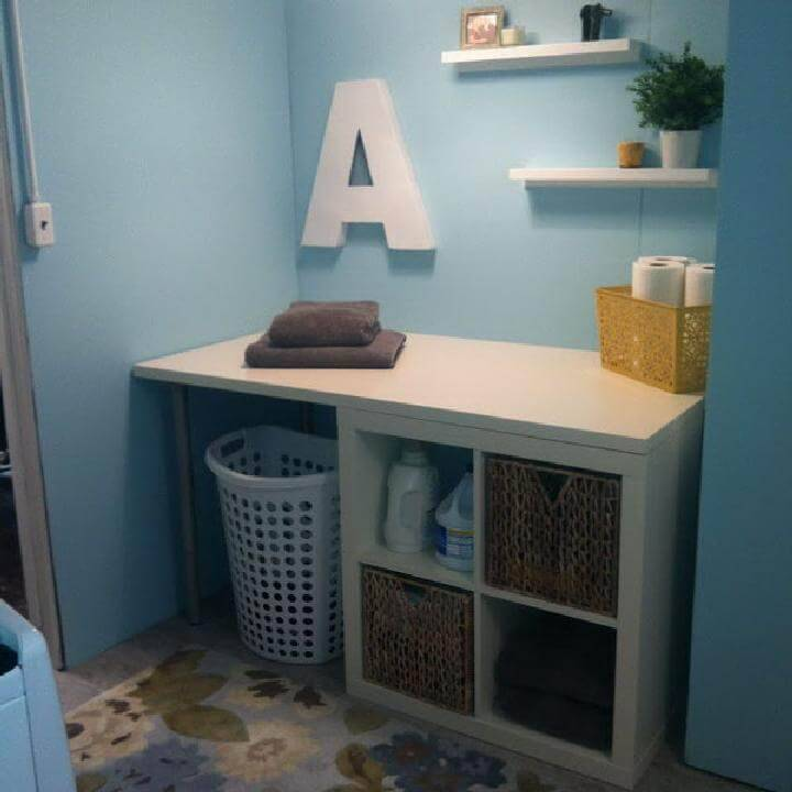 DIY IKEA Shelf into Laundry Folding Area