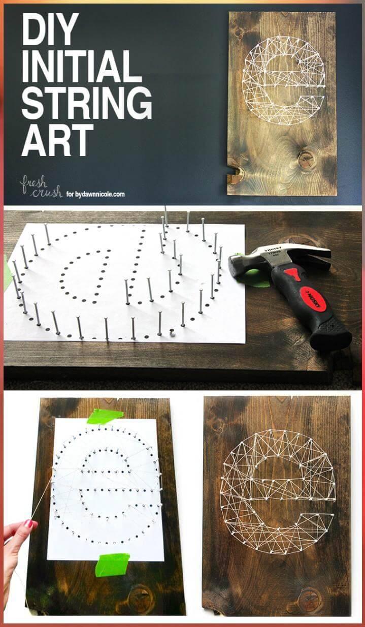 DIY Initial String Art Tutorial