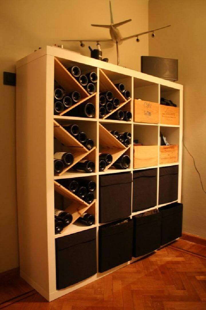 DIY Kallax Beverage Bottle Rack with Additional Storage Compartments