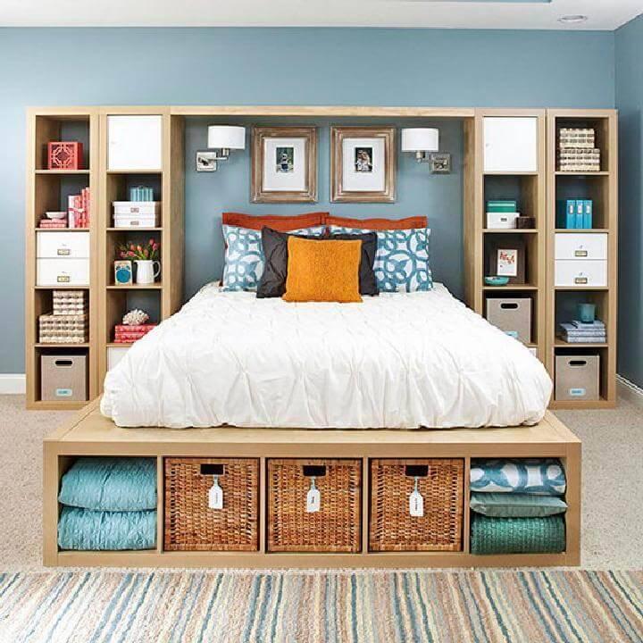 DIY Kallax Shelving Units into Master Bedroom Storage