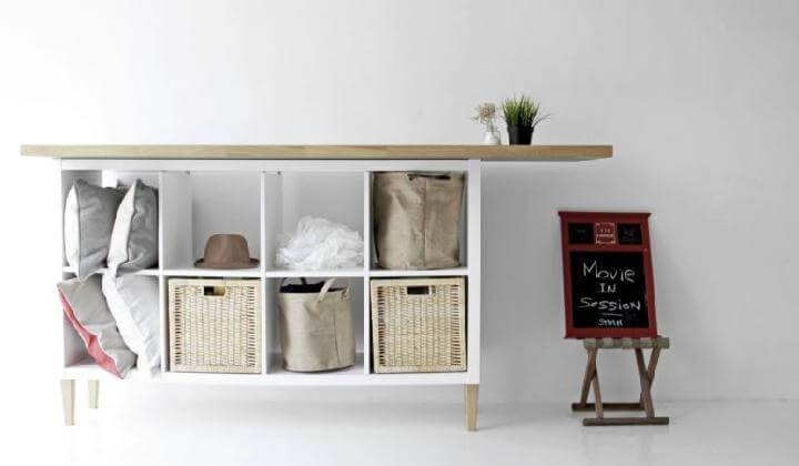 DIY Kallax Sideboard with Wooden Top and IKEA Legs