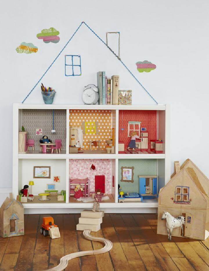 DIY Kallax or Expedit Shelving Unit Bookcase Dollhouse
