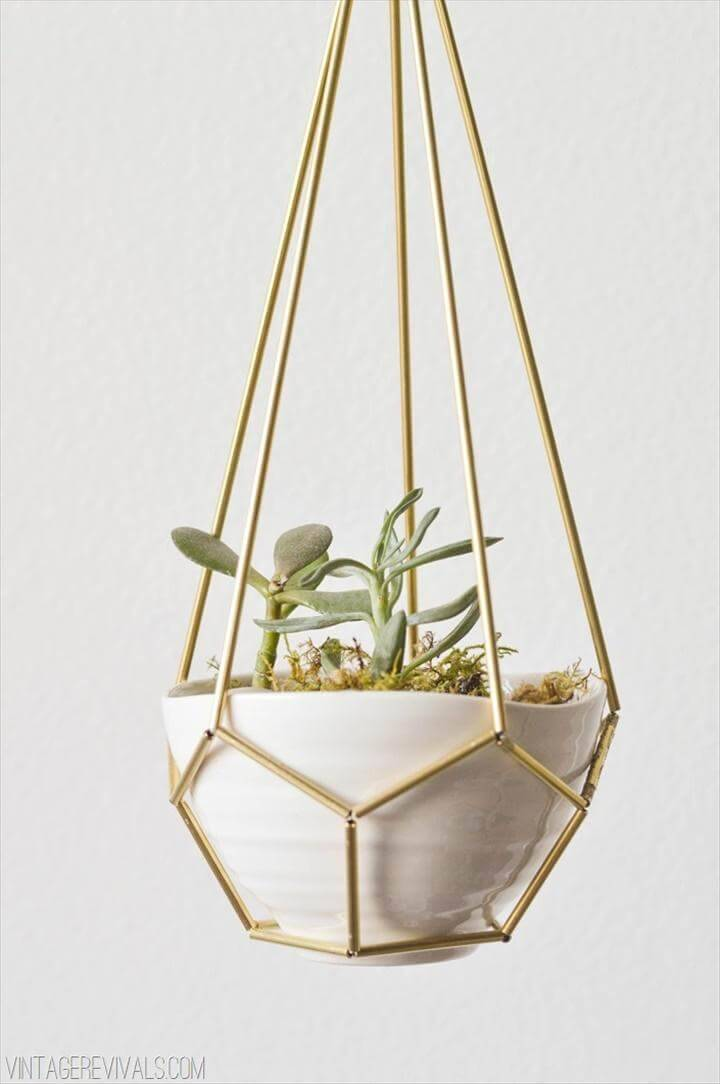 DIY Leather and Brass Teardrop Hanging Succulent