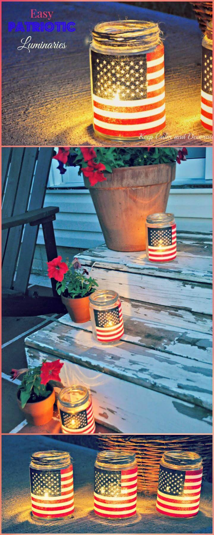 Repurposed Mason Jar Patriotic Luminaries