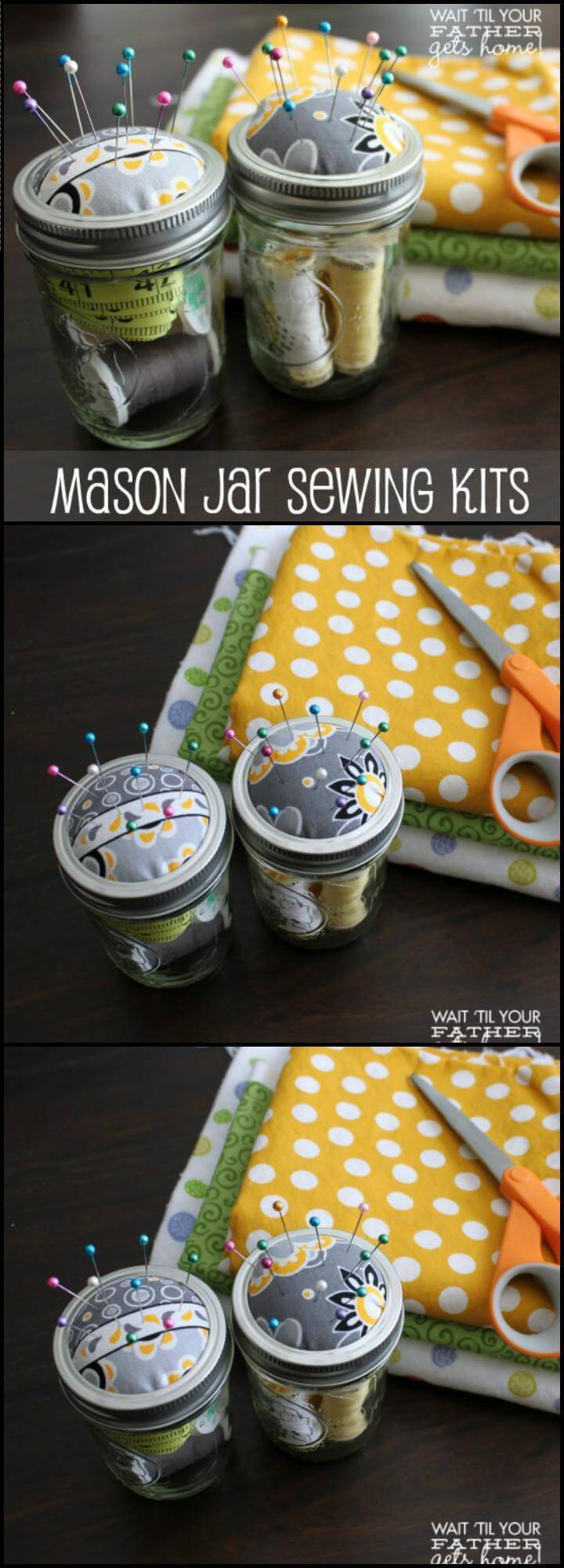 repurposed Mason jar sewing kit Mother's Day gift idea
