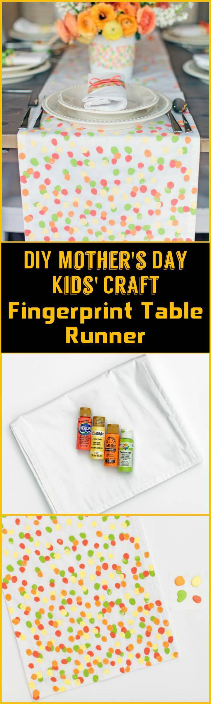 DIY Mother's Day fingerprint table runner