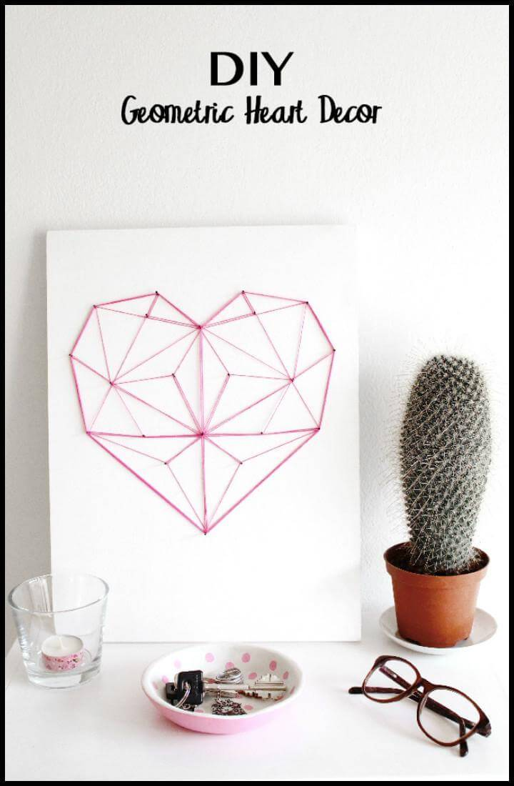 DIY Nail and Yarn Geometric Heart Art