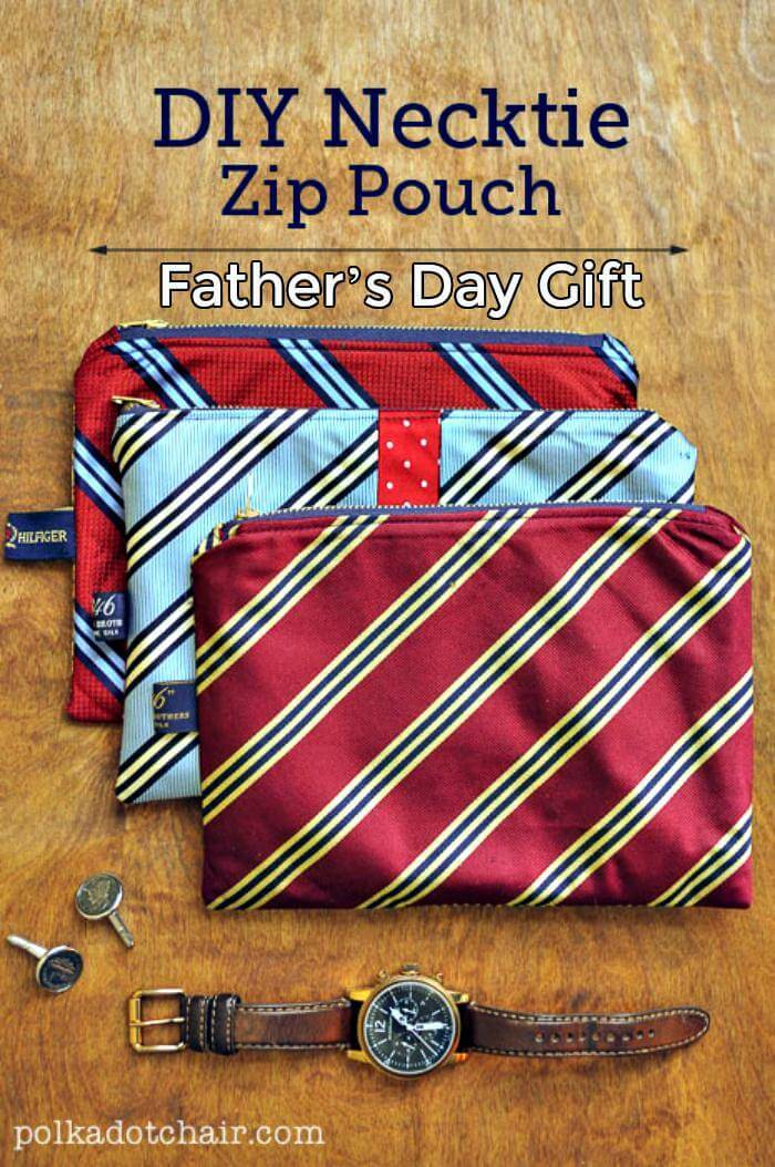 DIY Necktie Zip Pouch Father's Day Gift