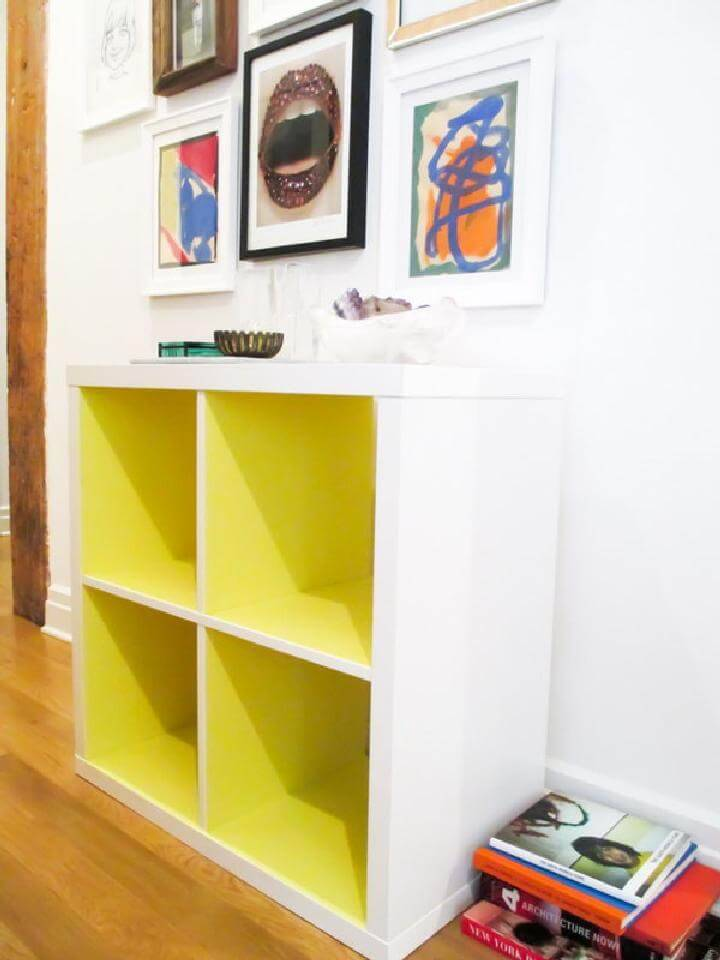 DIY Neon Yellow Kallax Shelf