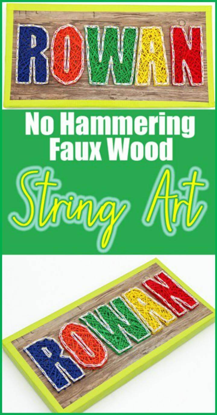 DIY No Hammering Faux Wood String Art