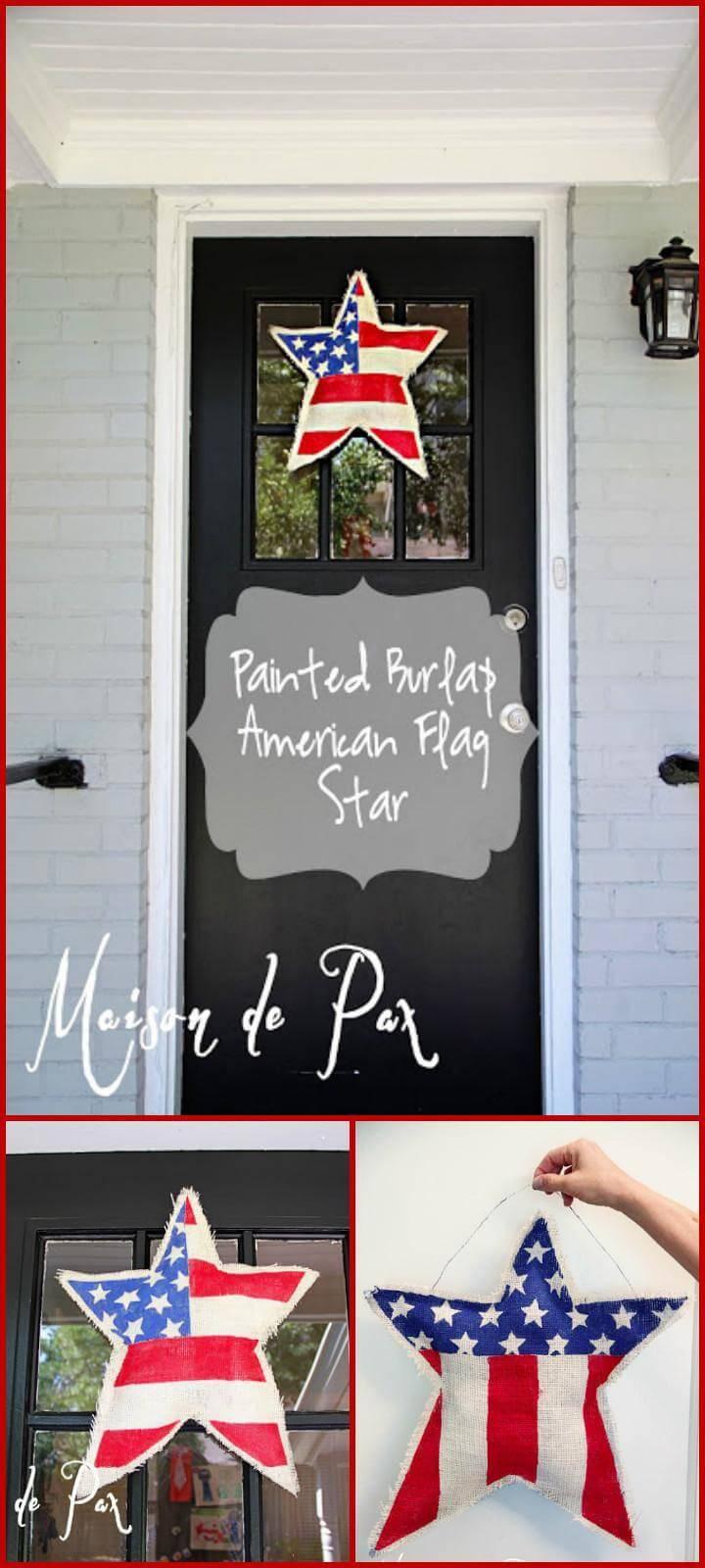 DIY easy painted burlap American flag star