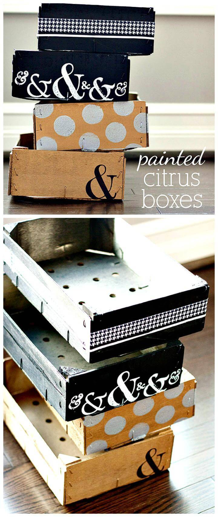DIY painted citrus boxes Mother's Day gift idea