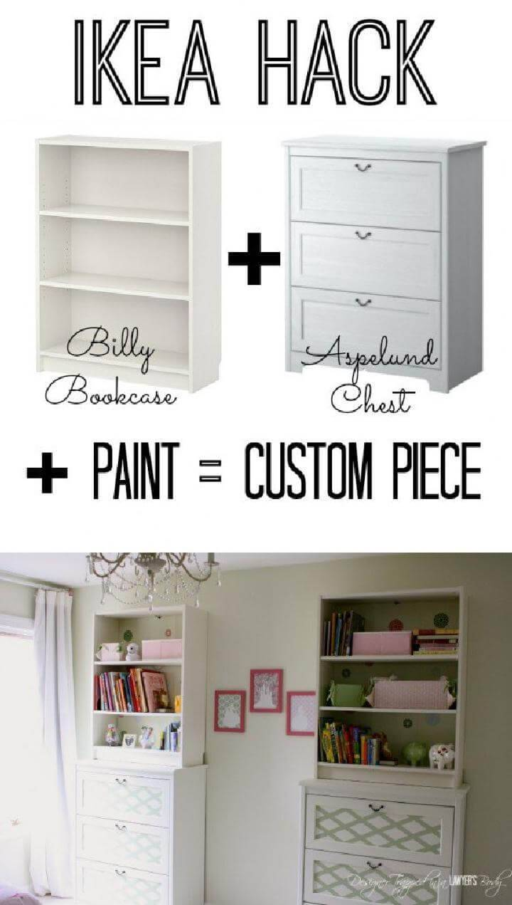 DIY Painted IKEA BILLY and Aspelund Chest Custom Furniture Hack