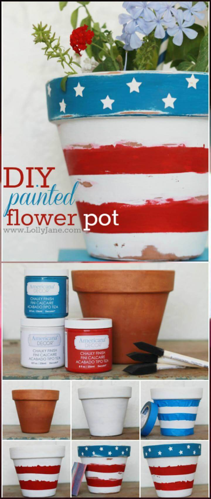 DIY Painted Patriotic Flower Pot
