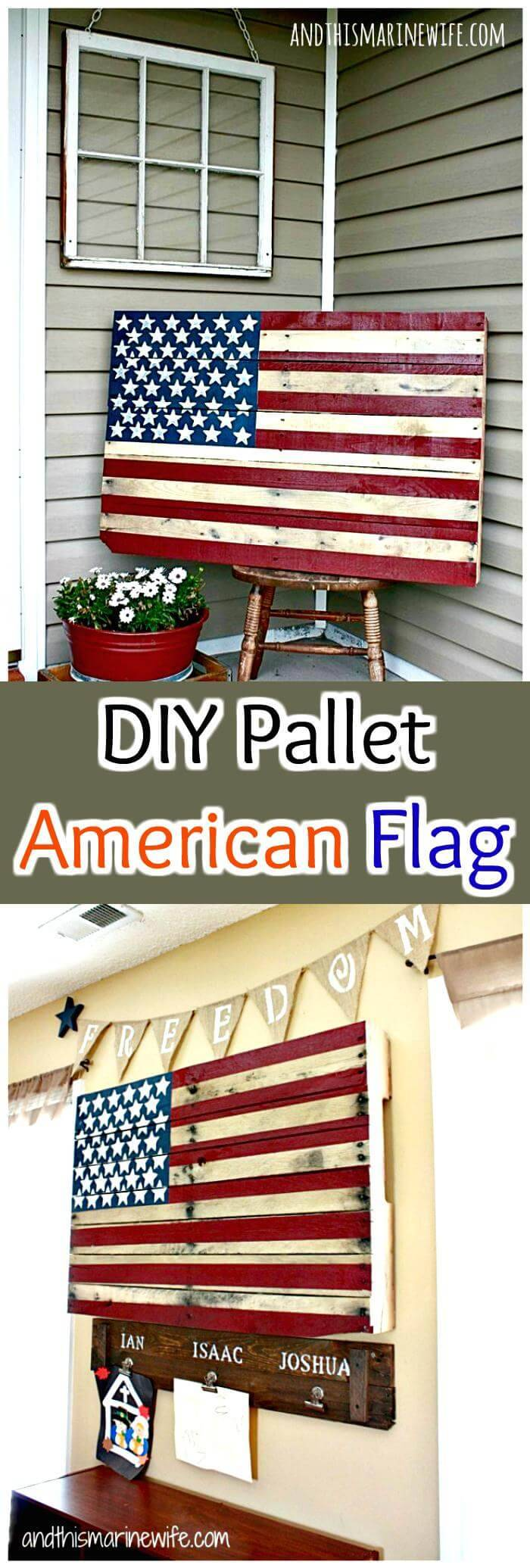 Wooden Pallet American Flag