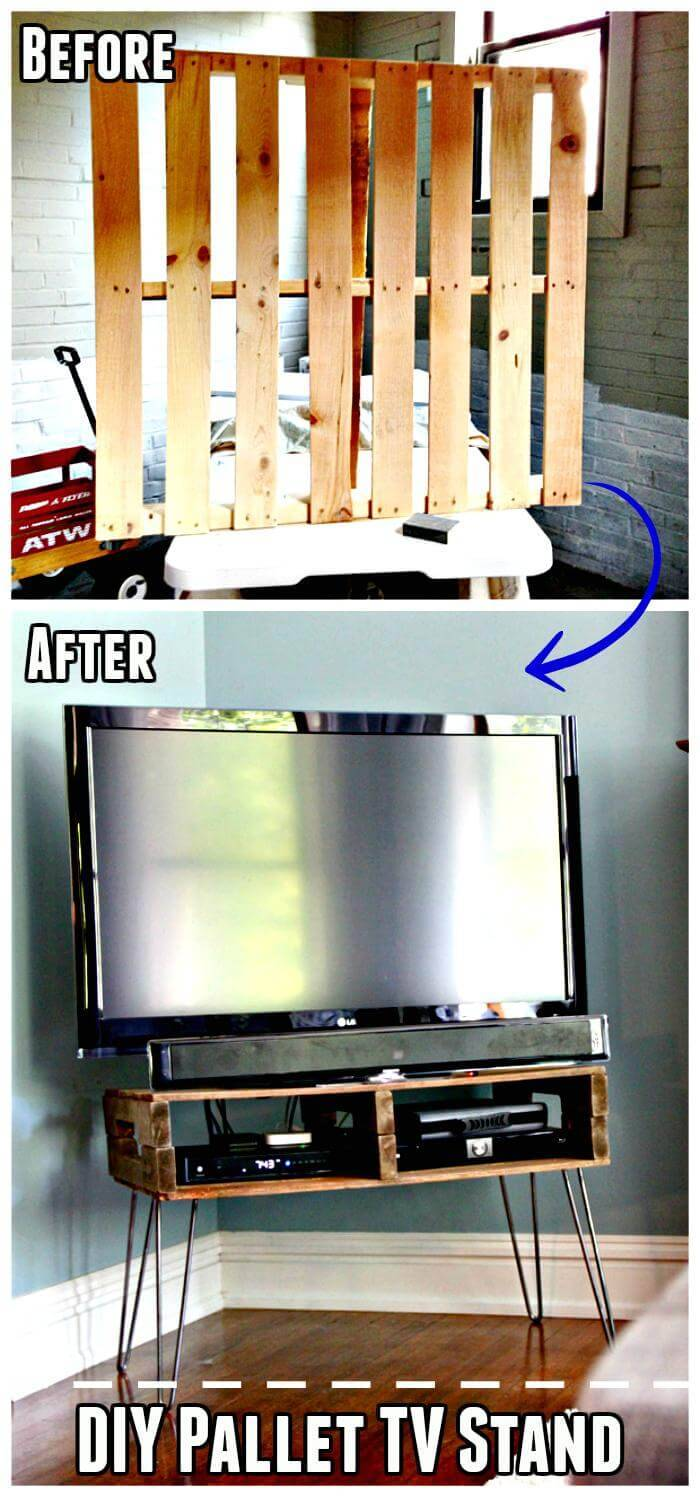 Reclaimed Pallet Hand-Built TV Stand